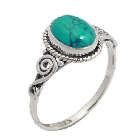 Turquoise Swirl Ring ~ Sterling Silver